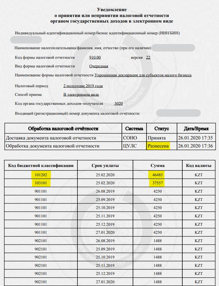 910 форма за 2 полугодие 2019 года для ИП - заполнение