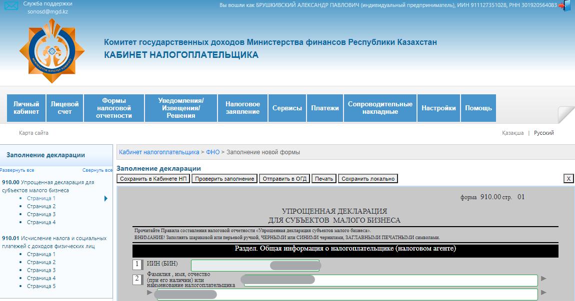 910 форма за 1 полугодие 2021 года для ИП - заполнение